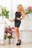 Piękna kobieta w czerni sukni w luksusowym studiu. zdjęcia royalty free