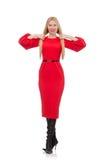 Piękna kobieta w czerwieni długiej sukni odizolowywającej na Zdjęcia Royalty Free