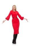 Piękna kobieta w czerwieni długiej sukni odizolowywającej na Zdjęcie Royalty Free