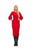 Piękna kobieta w czerwieni długiej sukni odizolowywającej na Zdjęcia Stock