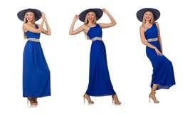 Piękna kobieta w długiej błękit sukni odizolowywającej na bielu Obraz Stock