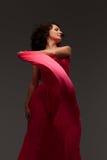 Piękna kobieta w długiej menchii sukni Fotografia Royalty Free