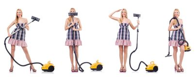 Piękna kobieta w housecleaning pojęciu obrazy stock