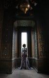 piękna kobieta w menchii smokingowy pozować w luksusowym pałac Zdjęcia Stock