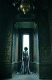 piękna kobieta w menchii smokingowy pozować w luksusowym pałac Fotografia Stock