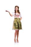 Piękna kobieta w tradycyjnej bavarian sukni, studio strzał, isol Zdjęcia Stock
