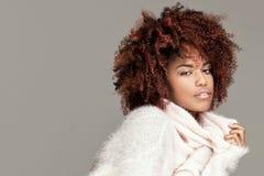 Piękna kobieta z afro fryzury pozować Fotografia Royalty Free
