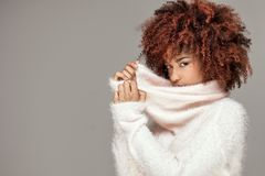 Piękna kobieta z afro fryzury pozować Zdjęcia Stock