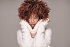 Piękna kobieta z afro fryzury pozować Zdjęcie Royalty Free