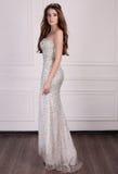Piękna kobieta z ciemnym włosy jest ubranym elegancką suknię i cenną koronę Obrazy Royalty Free