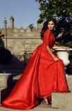 Piękna kobieta z ciemnym włosy jest ubranym luksusową czerwieni suknię Fotografia Stock