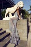 Piękna kobieta z ciemnym włosy jest ubranym luksusową suknię Obraz Stock