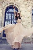 Piękna kobieta z ciemnym włosy w luksusowej jedwab sukni Obrazy Royalty Free