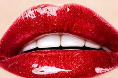 Piękna kobieta z czerwonymi błyszczącymi wargami obraz royalty free