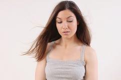 Piękna kobieta z czystą skórą i silnym zdrowym jaskrawym popiółem Obrazy Royalty Free
