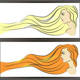 Piękna kobieta z długie włosy. Wektorowy illustration/eps 10 ilustracji
