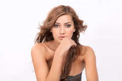 Piękna kobieta Z dmuchaniem, Falisty włosy Obrazy Stock