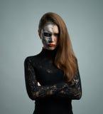 Piękna kobieta z makeup koścem Obraz Stock