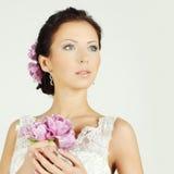 Piękna kobieta z makijażu i wieczór fryzurą Zdjęcia Royalty Free