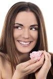 Piękna kobieta z menchii różą zdjęcie stock