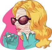 Piękna kobieta z ocenami rysować na jej twarzy dla plastikowej chirurgia plastyczna wektoru ilustraci Zdjęcie Royalty Free