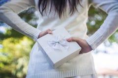 Piękna kobieta z pudełkiem w jej rękach za ona z powrotem Obrazy Stock