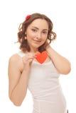 Piękna kobieta z valentines kartą Obrazy Royalty Free
