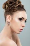 Piękna kobieta z wieczór makeup Zdjęcia Royalty Free