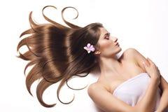 Piękna kobieta z zdrowy długie włosy. zdjęcie stock