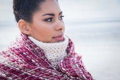 Piękna kobieta zawijająca up w ciepłej odzieży Obrazy Stock