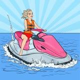 Piękna kobiety jazdy strumienia narta rywalizacje target698_1_ basenu bawją się dopłynięcie wodę Wystrzał sztuki ilustracja Obraz Stock