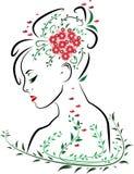Piękna kobiety twarz od strona profilu z czerwonymi wargami otaczać zieleń liśćmi, motylami i czerwonym kwiatu bukietem w włosy, ilustracji