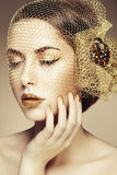 Piękna kobiety twarz. Perfect makeup Zdjęcie Royalty Free