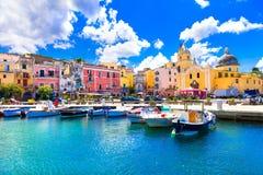 Piękna kolorowa wyspa Procida Campania, Włochy Obrazy Royalty Free