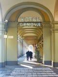 Piękna kolumnada blisko Turyn dworca, Włochy obraz royalty free