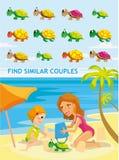 Piękna kreskówka wektoru ilustracja Śmieszna dopasowanie gra dla preschool żartuje edukację Obrazy Royalty Free