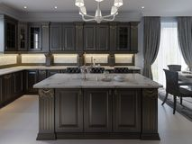 Piękna kuchnia w luksusu domu z wyspą, breloczków światłami, gabinetami i niwelacyjnymi podłogami, marmurowy backsplash, eleganck ilustracji
