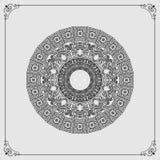 Piękna kurenda, ornamentacyjny projekt, arabesk mandala/różyczka ilustracja wektor