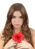 piękna kwiatu dziewczyny czerwień Obrazy Royalty Free
