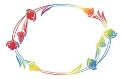 Piękna kwiecista owal rama z gradientową pełnią Zdjęcie Stock