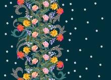 Piękna kwiecista Paisley bezszwowa pionowo granica Wianek róże, dzwon i kosmos, kwitnie Druk dla tkaniny ilustracji