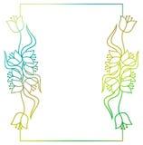 Piękna kwiecista rama z gradientową pełnią Raster klamerki sztuka Obrazy Stock