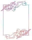 Piękna kwiecista rama z gradientową pełnią Raster klamerki sztuka Zdjęcie Stock