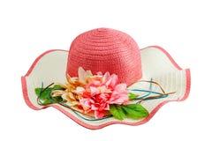 Piękna lato kobiety kapeluszu plaża z kwiatem odizolowywającym na białym b Fotografia Stock