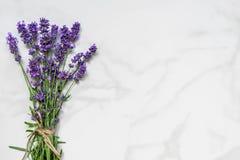 Piękna lawenda kwitnie bukiet na bielu marmuru stole z kopii przestrzenią dla twój teksta Odgórny widok Mieszkanie nieatutowy zdjęcia royalty free