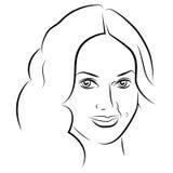 piękna lepsza konwertyty dziewczyny ilość surowa Mody kobiety piękna twarz atrament Zdjęcie Royalty Free