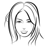 piękna lepsza konwertyty dziewczyny ilość surowa Mody kobiety piękna twarz atrament Obrazy Royalty Free