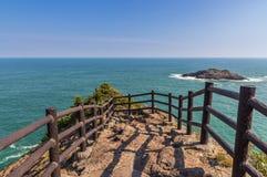 Piękna linia brzegowa Hyuga przylądek w Miyazaki, Kyushu zdjęcie stock