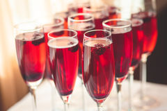 Piękna linia różni barwioni alkoholów koktajle z dymem na przyjęciu gwiazdkowym, tequila, Martini, ajerówce i inny na części, Zdjęcie Royalty Free