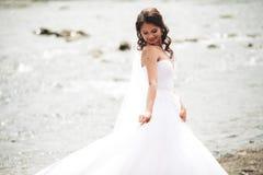 Piękna luksusowa młoda panna młoda stoi blisko rzeki z górami na tle w długiej białej ślubnej sukni i przesłona obraz stock